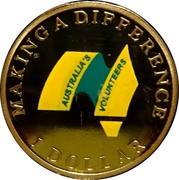 Australia 1 Dollar Australian Volunteers (Colorized) 2003 KM# 690.1 MAKING A DIFFERENCE AUSTRALIA'S VOLUNTEERS 1 DOLLAR coin reverse
