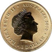 Australia 1 Dollar Birdwing Butterfly 2010 KM# 1442 ELIZABETH II AUSTRALIA 2010 1 DOLLAR IRB coin obverse