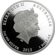 Australia 1 Dollar Birth of Prince George 2013 KM# 2060 ELIZABETH II AUSTRALIA 1 OZ 999 SILVER 2013 1 DOLLAR IRB coin obverse