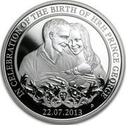 Australia 1 Dollar Birth of Prince George 2013 KM# 2060 IN CELEBRATION OF THE BIRTH OF HRH PRINCE GEORGE 22.07.2013 P JM coin reverse