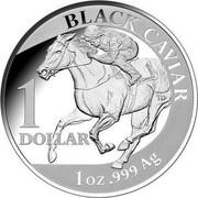 Australia 1 Dollar Black Caviar 2013 KM# 2018 BLACK CAVIAR 1 DOLLAR 1 OZ .999 AG TD CK CAVIAS coin reverse
