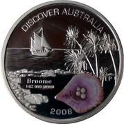 Australia 1 Dollar Broome 2008 KM# 1184 DISCOVER AUSTRALIA BROOME 1 OZ 999 SILVER 2008 P JR coin reverse