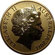 Australia 1 Dollar Cairns Birdwing 2011 KM# 1646 ELIZABETH II AUSTRALIA 2011 IRB coin obverse