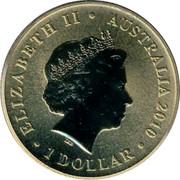 Australia 1 Dollar Cicada 2010 KM# 1443 ELIZABETH II AUSTRALIA 2010 1 DOLLAR IRB coin obverse