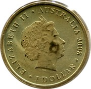 Australia 1 Dollar Common Wombat 2008 KM# 1168 ELIZABETH II AUSTRALIA 2008 1 DOLLAR IRB coin obverse