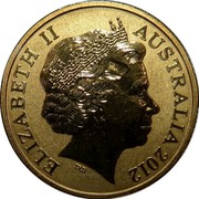 Australia 1 Dollar Corroboree Frog 2012 KM# 1858 ELIZABETH II AUSTRALIA 2012 coin obverse