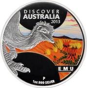 Australia 1 Dollar Discover Australia - Emu 2013 KM# 1938 DISCOVER AUSTRALIA 2013 EMU 1 OZ 999 SILVER P IJ coin reverse