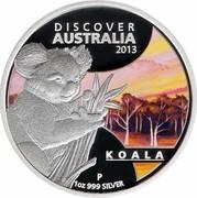Australia 1 Dollar Discover Australia - Koala 2013 KM# 1937 DISCOVER AUSTRALIA 2013 KOALA 1 OZ 999 SILVER P IJ coin reverse