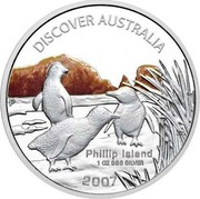 Australia 1 Dollar Discover Australia - Phillip Island 2007 KM# 946 DISCOVER AUSTRALIA PHILLIP ISLAND 1 OZ 999 SILVER 2007 P coin reverse