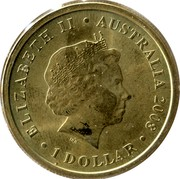 Australia 1 Dollar Echidna 2008 KM# 1169 ELIZABETH II AUSTRALIA 2008 1 DOLLAR IRB coin obverse