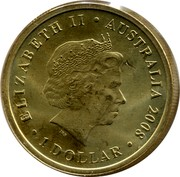 Australia 1 Dollar Ghost Bat 2008 KM# 1090 ELIZABETH II AUSTRALIA 2008 1 DOLLAR IRB coin obverse