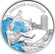 Australia 1 Dollar Gold Coas 2007 KM# 945 DISCOVER AUSTRALIA GOLD COAST 1 OZ 999 SILVER 2007 P JR coin reverse