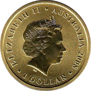 Australia 1 Dollar Grey Kangaroo 2008 KM# 1171 ELIZABETH II AUSTRALIA 2008 1 DOLLAR IRB coin obverse