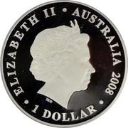 Australia 1 Dollar HMAS Sydney II 2008 KM# 1654 ELIZABETH II AUSTRALIA 2008 1 DOLLAR IRB coin obverse