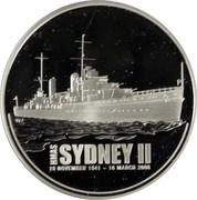 Australia 1 Dollar HMAS Sydney II 2008 KM# 1654 HMAS SYDNEY II 19 NOVEMBER 1941 ~ 16 MARCH 2008 coin reverse