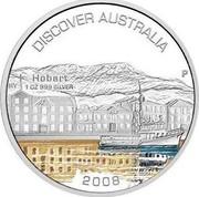 Australia 1 Dollar Hobart 2008 KM# 1021 DISCOVER AUSTRALIA HOBART 1 OZ 999 SILVER 2008 P RV coin reverse