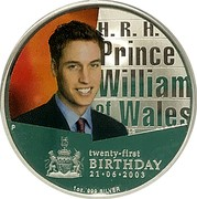 Australia 1 Dollar HRH Prince William of Wales 21st Birthday 2003 KM# 685 H.R.H. PRINCE WILLIAM OF WALES TWENTY-FIRST BIRTHDAY 21-06-2003 1 OZ. 999 SILVER P LC coin reverse