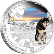Australia 1 Dollar Husky 2010 KM# 1381 2010: HUSKY AUSTRALIAN ANTARCTIC TERRITORY 1 OZ 99.9 SILVER P AH coin reverse