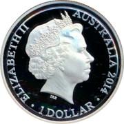 Australia 1 Dollar Kangaroo at Sunset 2014 KM# 2005 ELIZABETH II AUSTRALIA 2017 IRB coin obverse