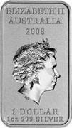 Australia 1 Dollar Kangaroo Dreaming 2008 KM# 1107 ELIZABETH II AUSTRALIA 2008 1 DOLLAR 1 OZ 999 SILVER IRB coin obverse