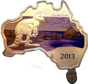 Australia 1 Dollar Kangaroo (Map Shaped) 2013 KM# 1929 KANGAROO 1 OZ 999 SILVER 2013 P IJ coin reverse