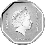 Australia 1 Dollar Kangaroo Road Sign 2013 KM# 1953 ELIZABETH II AUSTRALIA 2013 1 DOLLAR IRB coin obverse