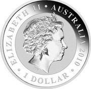 Australia 1 Dollar Koala 2010 KM# 1464a ELIZABETH II AUSTRALIA 2010 1 DOLLAR IRB coin obverse