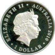 Australia 1 Dollar Lachen Macquarie 2010 KM# 1324 ELIZABETH II AUSTRALIA 2010 1 DOLLAR IRB coin obverse