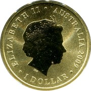 Australia 1 Dollar Lest We Forget 2009 KM# 1497 ELIZABETH II AUSTRALIA 2009 1 DOLLAR IRB coin obverse