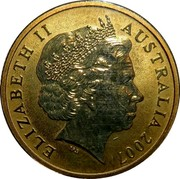 Australia 1 Dollar Longfin Bannerfish 2007 KM# 1025 ELIZABETH II AUSTRALIA 2007 IRB coin obverse