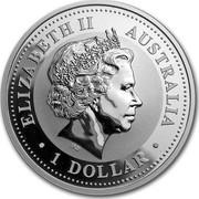 Australia 1 Dollar Lunar Horse (Gilded) 2002 KM# 580a ELIZABETH II AUSTRALIA 1 DOLLAR IRB coin obverse