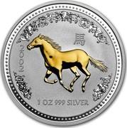 Australia 1 Dollar Lunar Horse (Gilded) 2002 KM# 580a 2002 1 OZ 999 SILVER coin reverse