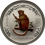 Australia 1 Dollar Lunar Monkey (Colorized) 2004 KM# 674b 2004 1 OZ 999 SILVER SA coin reverse