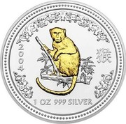Australia 1 Dollar Lunar Monkey (Gilded) 2004 KM# 674a 2004 1 OZ 999 SILVER SA coin reverse