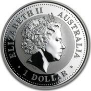 Australia 1 Dollar Lunar Rooster 2005 KM# 695 ELIZABETH II AUSTRALIA 1 DOLLAR IRB coin obverse
