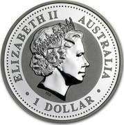 Australia 1 Dollar Lunar Rooster (Gilded) 2005 KM# 695a ELIZABETH II AUSTRALIA 1 DOLLAR IRB coin obverse