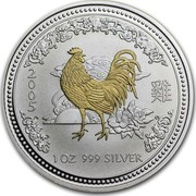 Australia 1 Dollar Lunar Rooster (Gilded) 2005 KM# 695a 2005 1 OZ 999 SILVER coin reverse