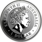 Australia 1 Dollar Lunar Snake (Gilded) 2001 KM# 536a ELIZABETH II AUSTRALIA 1 DOLLAR IRB coin obverse