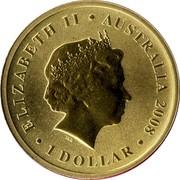 Australia 1 Dollar Palm Cockatoo 2008 KM# 1173 ELIZABETH II AUSTRALIA 2008 1 DOLLAR IRB coin obverse