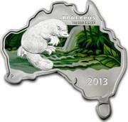 Australia 1 Dollar Platypus (Map Shaped) 2013 KM# 2070 PLATYPUS 1 OZ 999 SILVER 2013 P IJ coin reverse