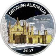 Australia 1 Dollar Port Arthur 2007 KM# 947 DISCOVER AUSTRALIA PORT ARTHUR 1 OZ 999 SILVER 2007 P JR coin reverse