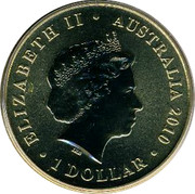Australia 1 Dollar Praying mantis 2010 KM# 1447 ELIZABETH II AUSTRALIA 2010 1 DOLLAR IRB coin obverse