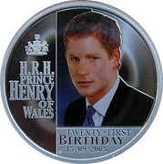 Australia 1 Dollar Prince Henry of Wales 21st Birthday 2005 KM# 836 H.R.H. PRINCE HENRY OF WALES TWENTY-FIRST BIRTHDAY 15-09-2005 P coin reverse