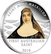 Australia 1 Dollar Saint Mary MacKillop 2010 KM# 1491 SAINT MARY MACKILLOP FIRST AUSTRALIAN SAINT 2010 P coin reverse