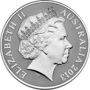 Australia 1 Dollar Saltwater Crocodile - Bindi 2012 KM# 1865 ELIZABETH II AUSTRALIA 2013 IRB coin obverse