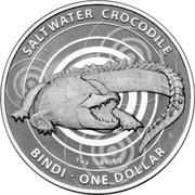 Australia 1 Dollar Saltwater Crocodile - Bindi 2012 KM# 1865 SALTWATER CROCODILE BINDI - ONE DOLLAR 1 OZ .999 AG coin reverse