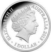 Australia 1 Dollar Saltwater Crocodile - Bindi 2013 KM# 2029 ELIZABETH II AUSTRALIA 2013 1 DOLLAR IRB coin obverse