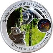 Australia 1 Dollar Shanghai World Expo 2010 KM# 1391 SHANGHAI WORLD EXPO 2010 AUSTRALIAN PAVILION P coin reverse