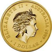 Australia 1 Dollar Space Telescope 2009 KM# 1264 ELIZABETH II AUSTRALIA 2009 1 DOLLAR IRB coin obverse