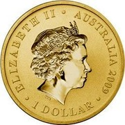 Australia 1 Dollar Space Theme - Moons 2009 KM# 1258 ELIZABETH II AUSTRALIA 2009 1 DOLLAR IRB coin obverse